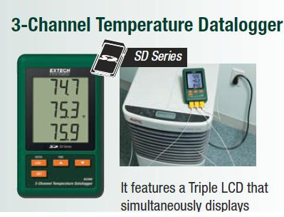 SD200: 3-Channel Temperature Datalogger + SD CARD